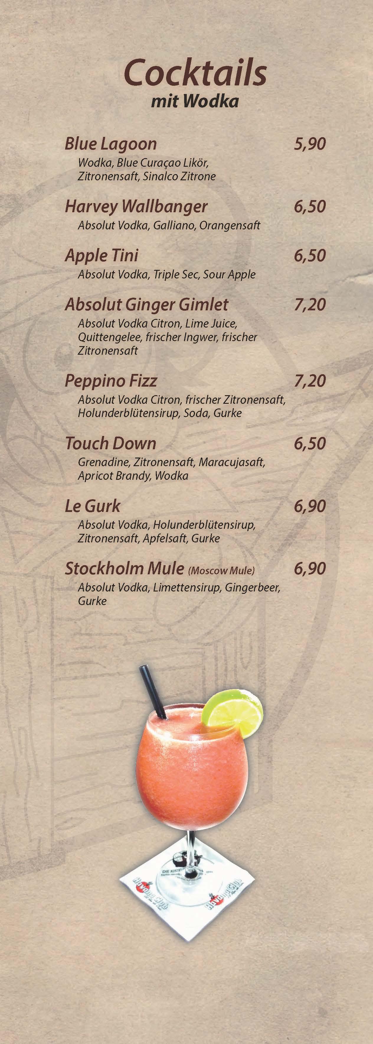 Cocktails mit Wodka - Cocktailbar Die Kiste in Cuxhaven