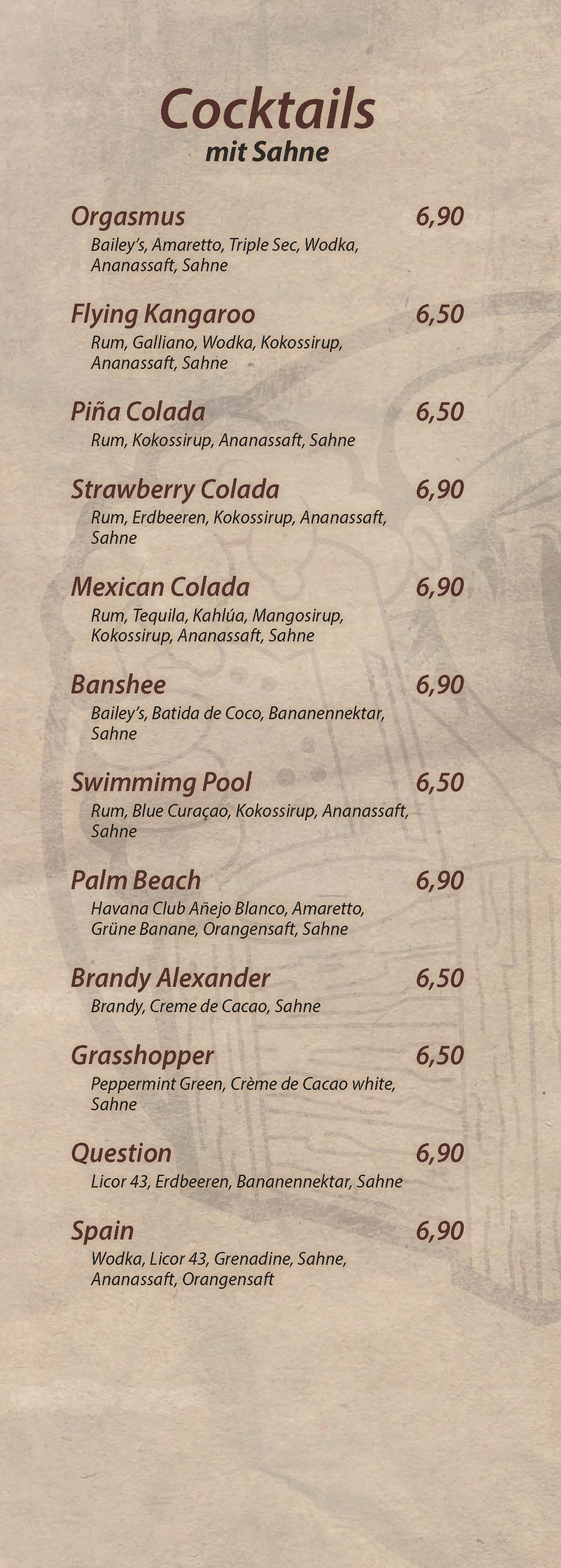 Cocktails mit Sahne - Cocktailbar Die Kiste in Cuxhaven