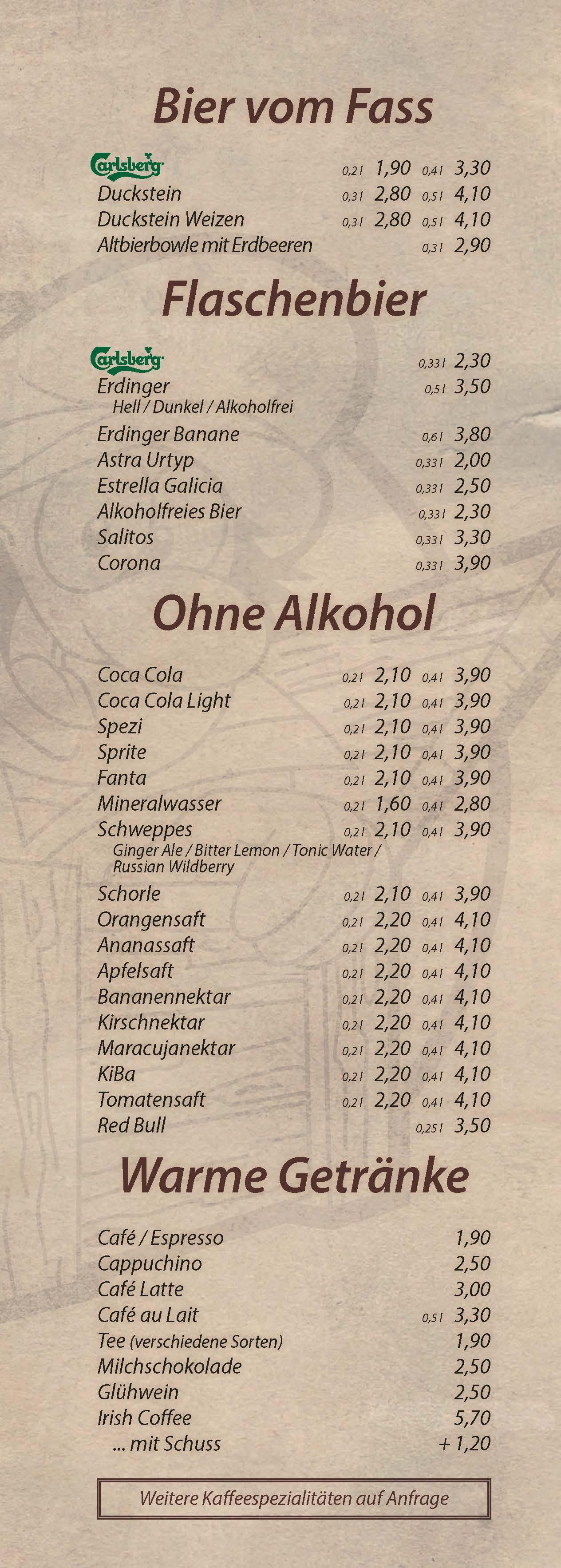 Bier, warme Getränke - Cocktailbar Die Kiste in Cuxhaven