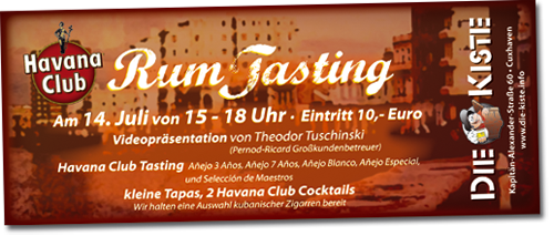 Havana Club Rumtasting in der Cocktailbar Die Kiste in Cuxhaven