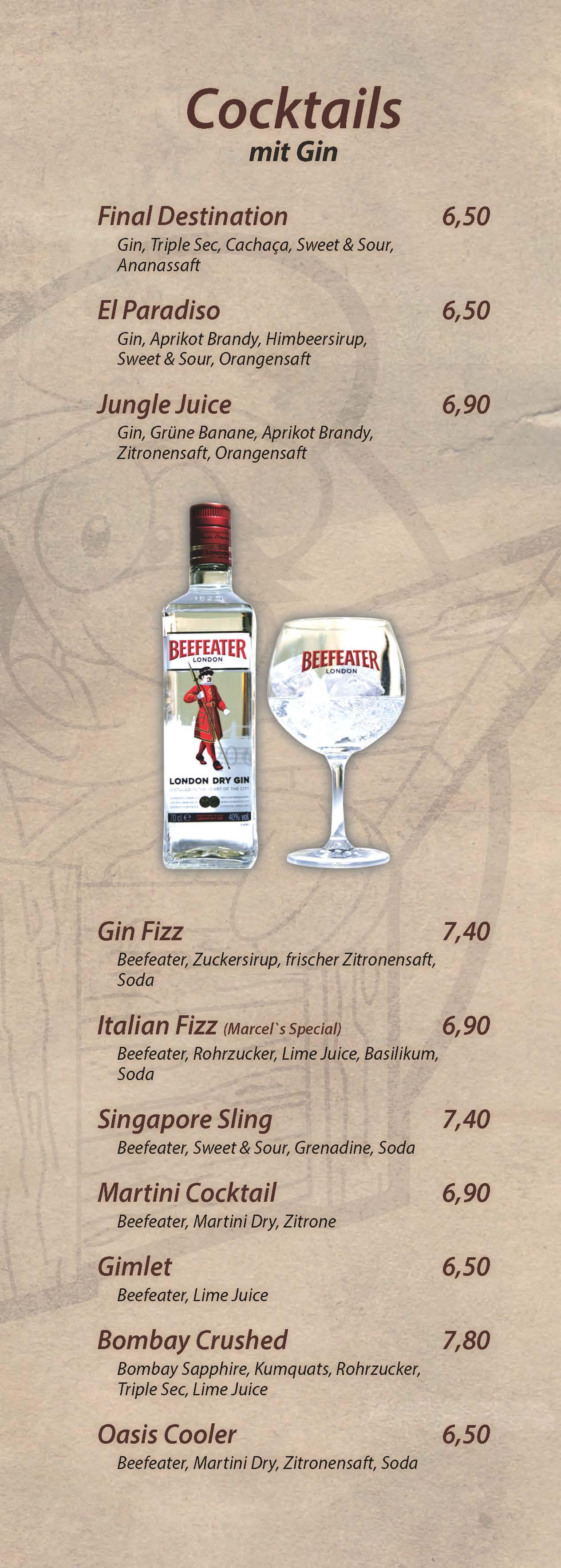 Cocktails mit Gin - Cocktailbar Die Kiste in Cuxhaven