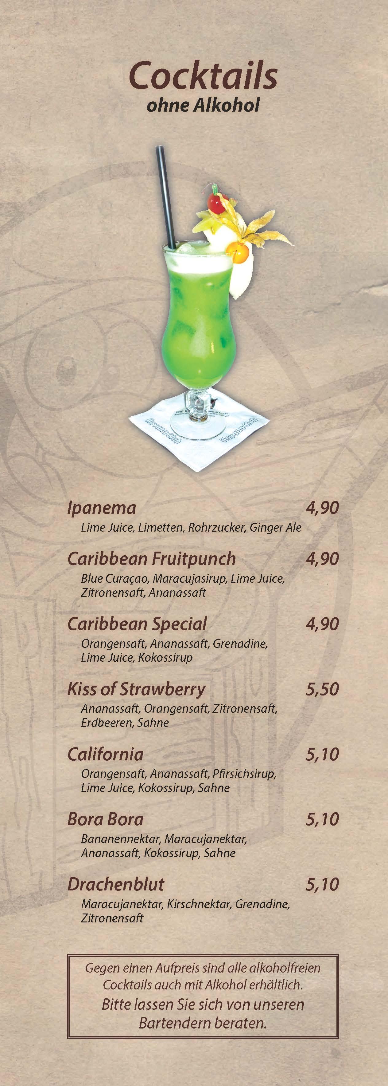 Cocktails ohne Alkohol - Cocktailbar Die Kiste in Cuxhaven