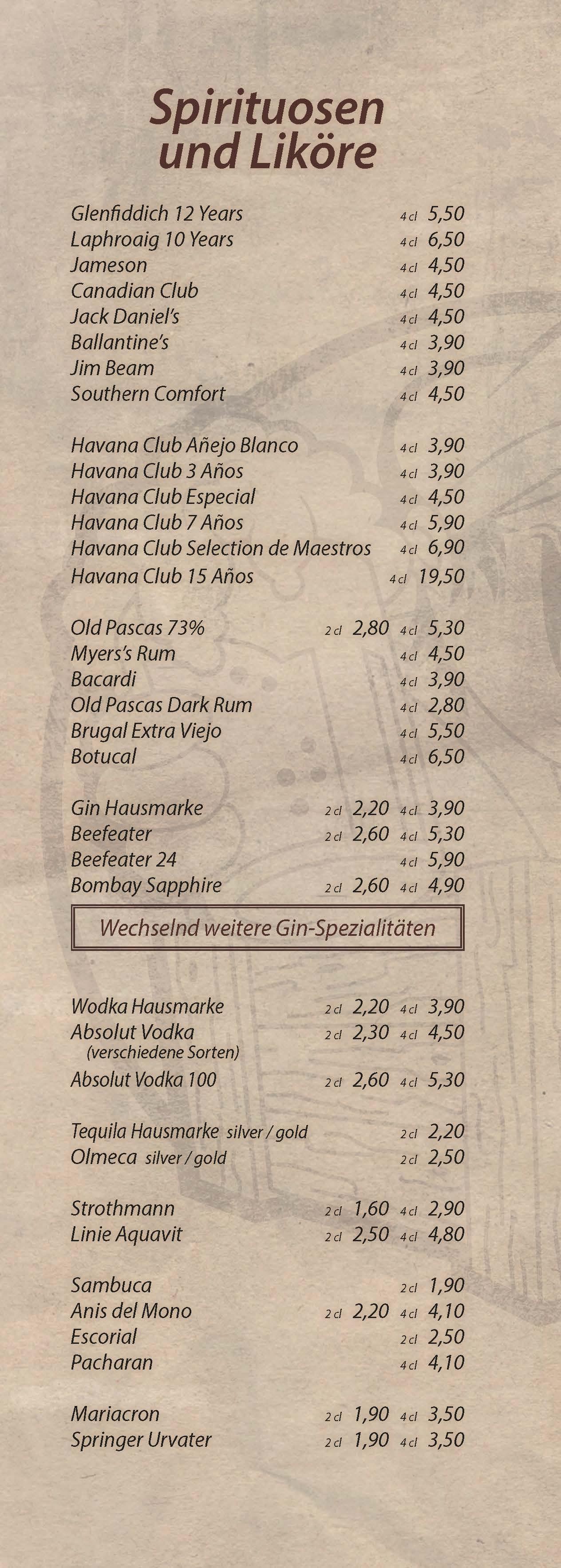 Spirituosen und Liköre - Cocktailbar Die Kiste in Cuxhaven