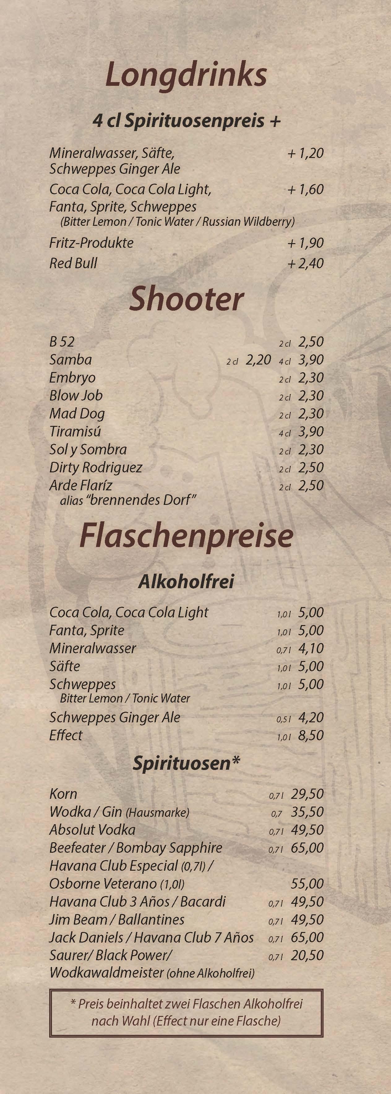 Longdrinks, Shooter, Flschenpreise - Cocktailbar Die Kiste in Cuxhaven