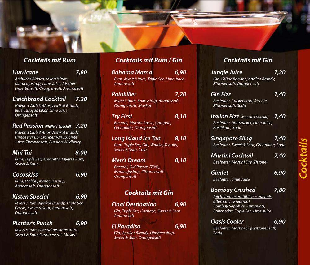 Cocktails mit Rum - Cocktails mit Gin - Die Kiste Cuxhaven