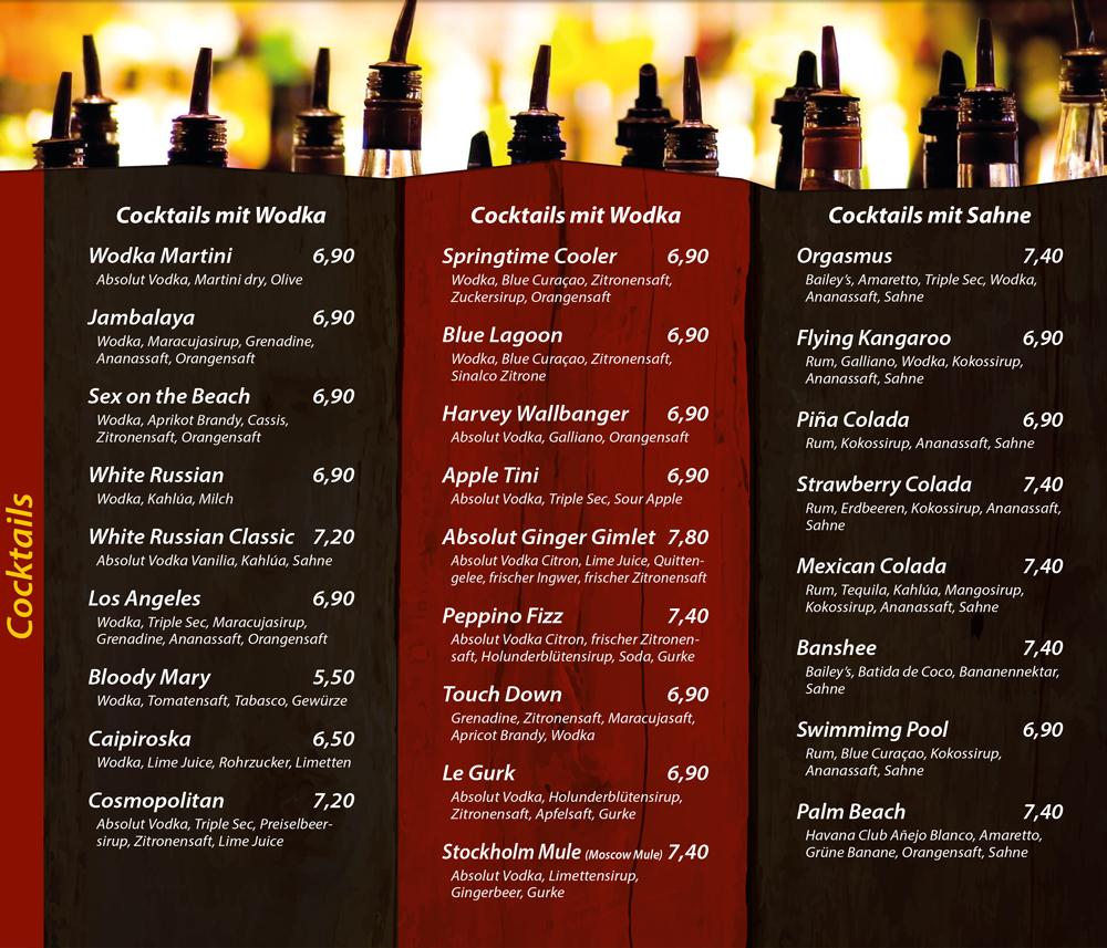 Cocktails mit Wodka - Cocktails mit Sahne - Die Kiste Cuxhaven