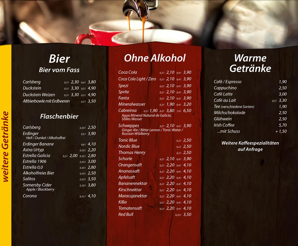 Bier, Alkoholfreie Getränke, Warme Getränke - Die Kiste in Cuxhaven