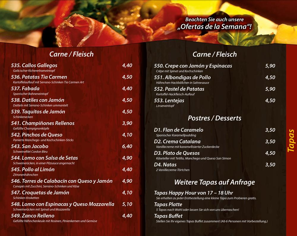 Tapas mit Fleisch, Desserts - Die Kiste in Cuxhaven