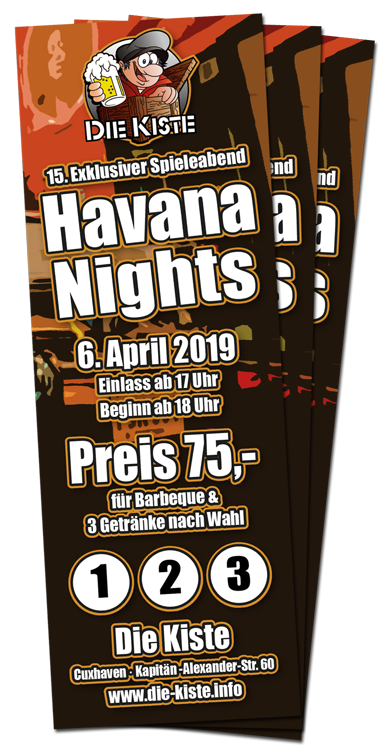 Havana Nights - 15. exklusiver Spieleabend am 6. April 2019 in der Die Kiste in Cuxhaven