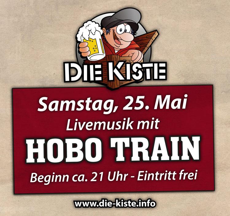 Livemusik mit Hobo Train am Samstag, 25.05.2019 in der Cocktailbar Die Kiste in Cuxhaven