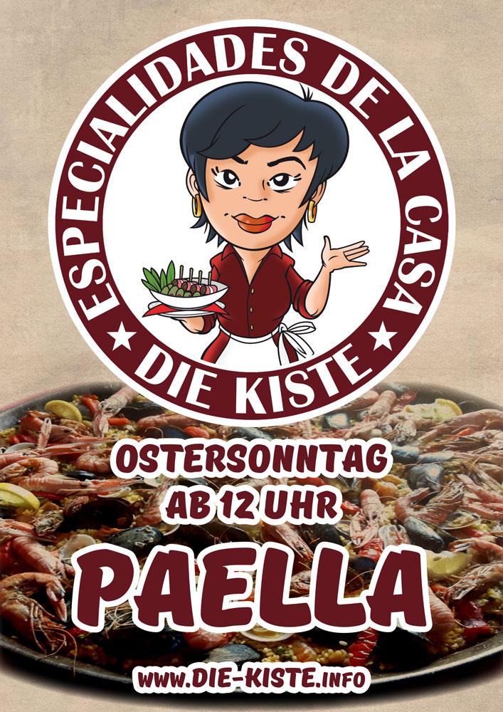 Ostern - Ostersonntag - hausgemachte, original spanische Paella in der Cocktail und Tapas Bar Die Kiste in Cuxhaven