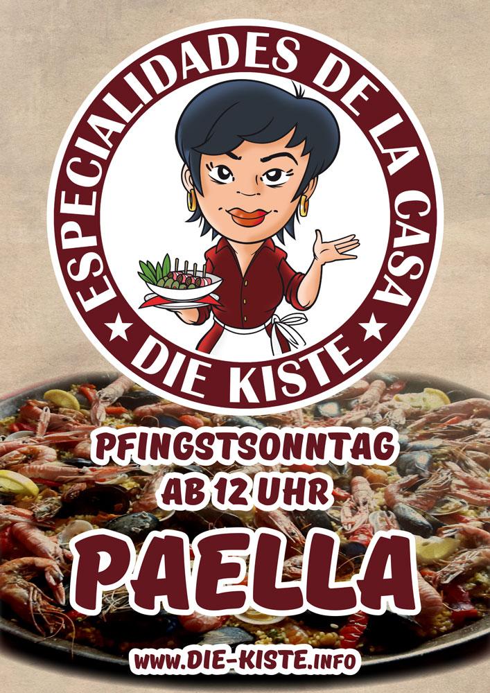 Pfingstsonntag ab 12 Uhr Paella und ab 17 Uhr Livemusik in der Die Kiste in Cuxhaven