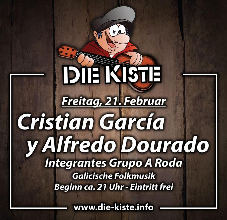 Livemusik mit den galicischen Folk-Musikern Cristian García und Alfredo Dourado von der Band A Roda am Freitag, 21.02.2020 in der Cocktailbar Die Kiste in Cuxhaven.