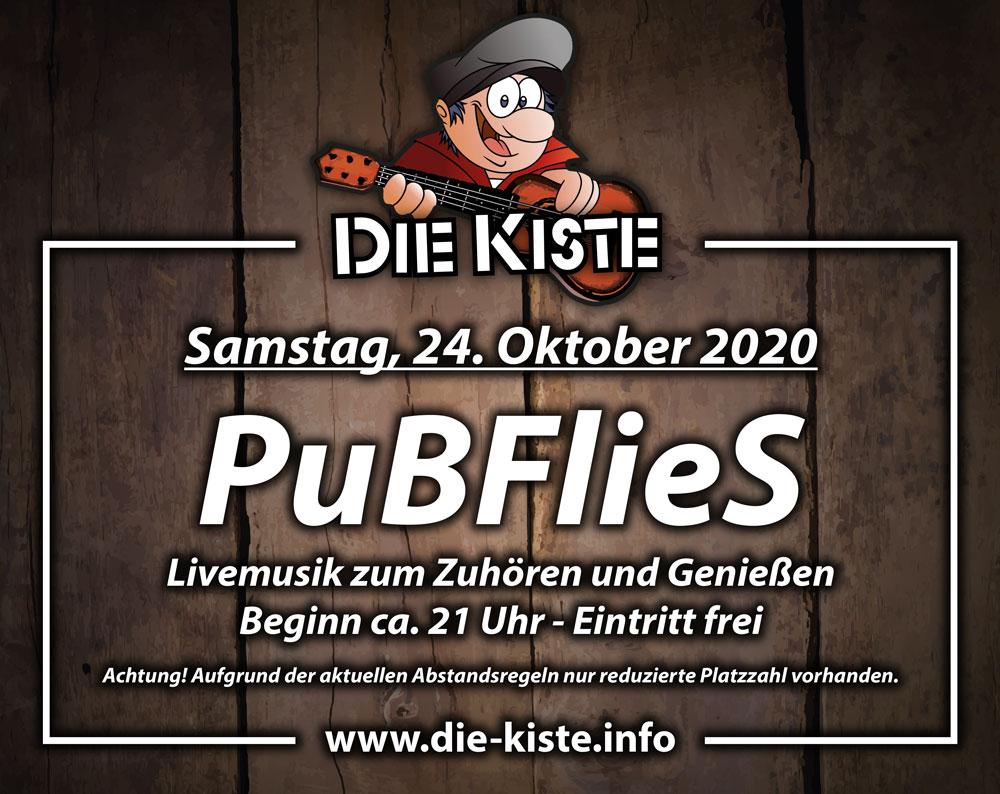 Livemusik mit den PuBFlieS am Samstag, 24. Oktober 2020 in der Cocktailbar DIE KISTE in Cuxhaven